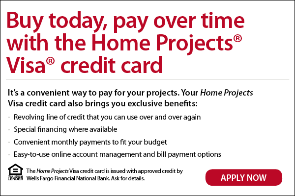 Advertisement for Wells Fargo Home Projects Visa Card