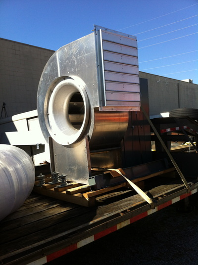 commerical blower on flatbed